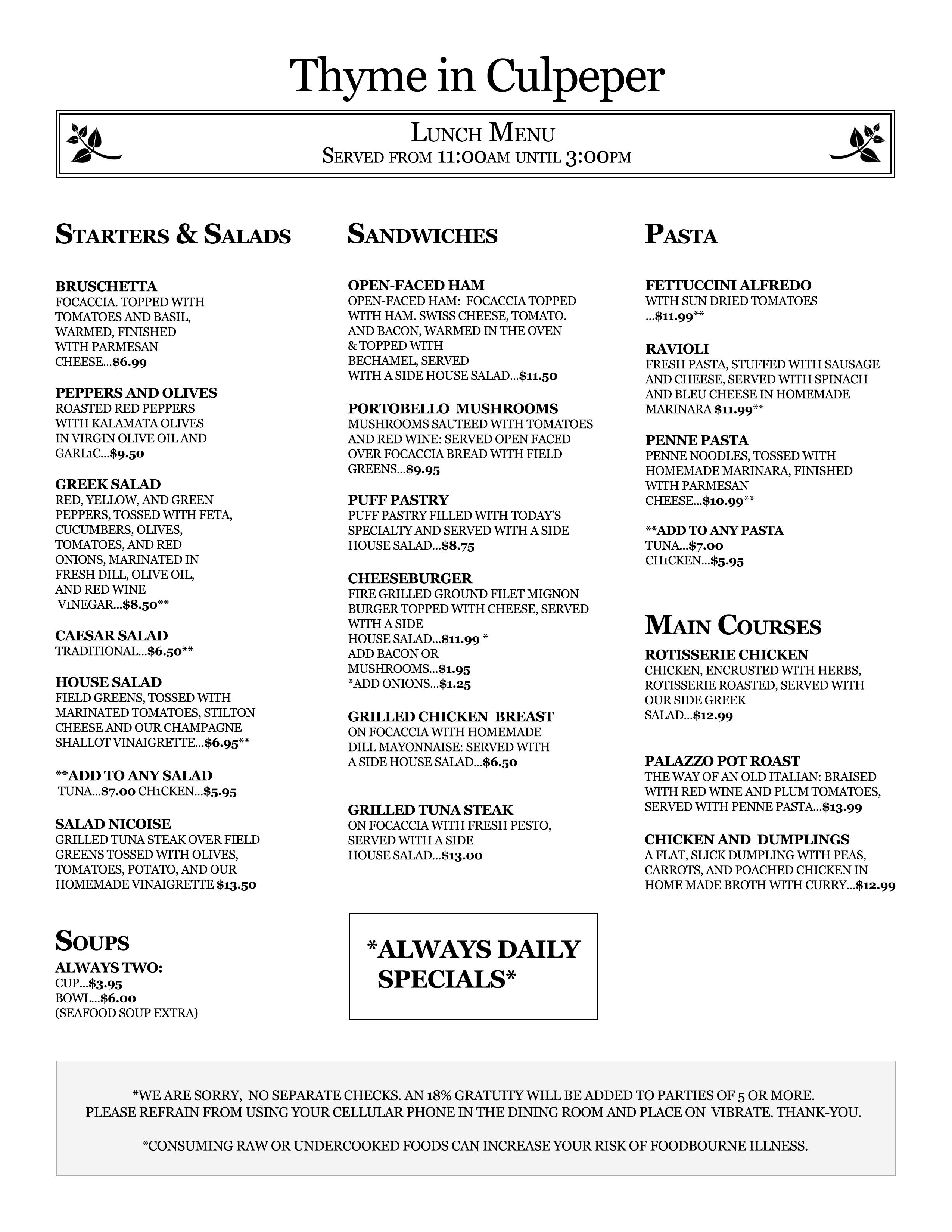 Thyme in culpeper menu for Fish thyme menu